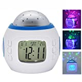 Projection Wecker Colorful Musik Starry Sky Schlafzimmer Light Licht Nachtlicht Alarm Uhr Clock Kalender Calendar Thermometer Projektor Uhr