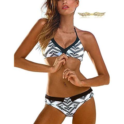 BYD Mujeres Bikinis Conjuntos Push Up Bañador a Rayas Impresión Ropa de baño 2pcs Tops + Shorts