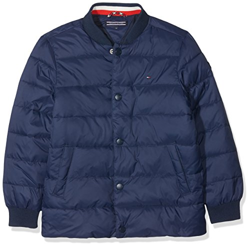 Tommy Hilfiger Jungen Jacke Essential Stepped Jacket, Blau (Black Iris 002), 128 (Herstellergröße: 8)