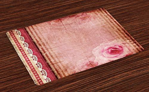 ABAKUHAUS Shabby Chic Platzmatten, Vintage Style Frame mit Spitze inspiriert Borders altmodischen rosa Rosen Print, Tiscjdeco aus Farbfesten Stoff für das Esszimmer und Küch, Mehrfarbig