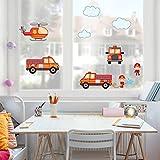 Bilderwelten Fenstersticker Feuerwehr-Set mit Fahrzeugen Kinderzimmer Fenstersticker Fensterfolie Fenstertattoo Fensterbild Fenster-Deko Fensteraufkleber Fensterdekoration Glas-Sticker Größe: 40cm x 40cm