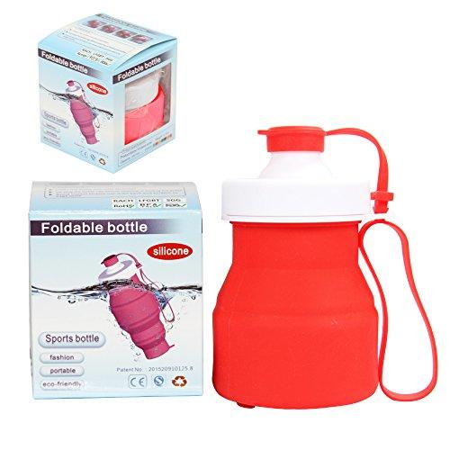 Sidiou Group Protein Fitness-Shaker BPA frei faltbare Outdoor-Reisen Silikon Wasserflasche für Sport 520ml verschiedene Farben (blau) rot