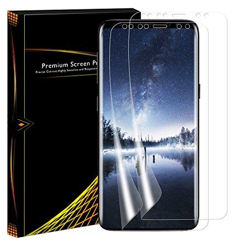 Protection écran Galaxy S9 Plus, PEMOTech (2 pièces) [PET Couverture complète] (bord à bord) Ultra Film HD Protecteur d'écran Invisible et Anti-bulles à Ultra haute définition pour Samsung Galaxy S9 Plus