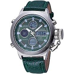 BOAMIGO Luminous Alarm Date Week 50M Waterproof Quartz Digital Mens Watch (Green)