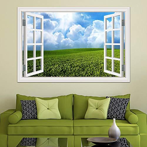 3d fenster landschaft wandaufkleber grüner tee garten schöne landschaft tapeten vinyl wandkunst abziehbild dekor 60x90 cm
