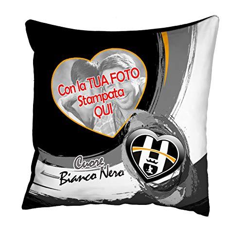 quickgadget Idea Arredo Casa Cuscino Sport Personalizzato con Foto per Tifoso Cuore Bianco Nero Juventino Juve Juventus