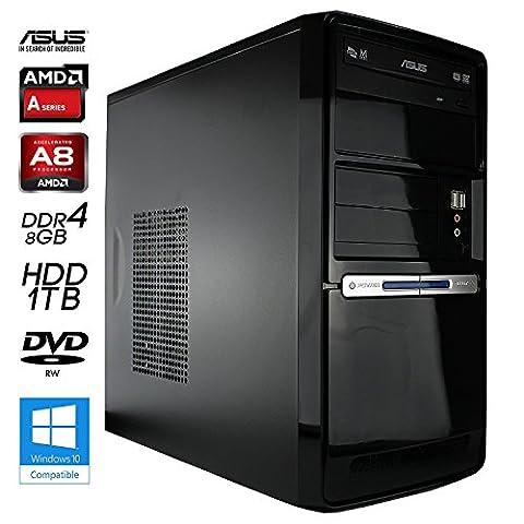 SNOGARD Silent Multimedia PC | AMD A8-9600 4x 3100MHz Sockel AM4 Bristol Ridge | AMD Radeon R7 Graphics | 8GB RAM | 1000GB HDD | DVD-RW | USB3.0 | Computer für Multimedia, Gaming, Büro/Office