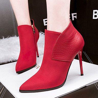 Moda Donna Sandali Sexy donna tacchi Comfort inverno abito scamosciato Stiletto Heel Zipper nero / rosso / grigio a piedi Red