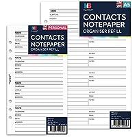 Contactos papel de carta correo electrónico Funda para dirección nombre organizador planificador de recambio Insertar Filofax Compatible Inglés nbplanner Personal: 95 x 171 mm
