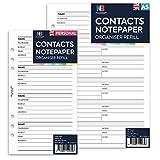 NBplanner Notizbuch-Einlagen für Kontakte, E-Mail, Handynummer, Adresse, Name, Nachfüll-Einlagen, Filofax-kompatibel, auf Englisch A5: 148 x 210 mm