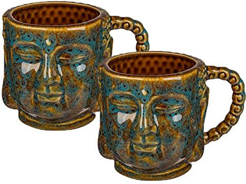 Bada Bing 2er Set Große Tasse Buddha Braun Türkis Edel Ca. Ø 9 x 10 cm Kaffeebecher Mit 3D Effekt Kaffeetasse Geschenk 79