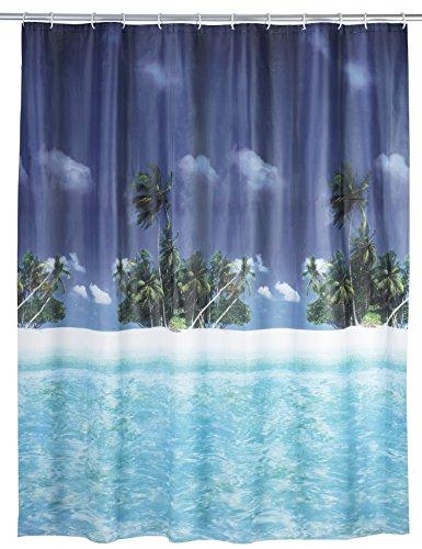 Wenko 19101100 - Cortina de ducha con playa y palmeras de plástico (1