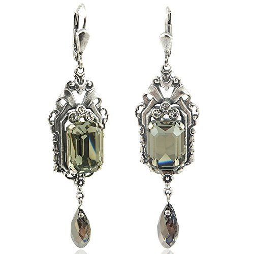 Jugendstil Ohrringe Kristalle von Swarovski® Silber Grau NOBEL SCHMUCK