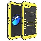 """iPhone 7 Plus / iPhone 8 Plus antiurto Custodie, Claelech impermeabile Potente Cover Alluminio Metal Armor con Gorilla Glass vetro protettiva contro Cover per iPhone 7Plus / 8Plus 5.5"""" (iPhone 7 Plus / iPhone 8 Plus 5.5"""", giallo)"""