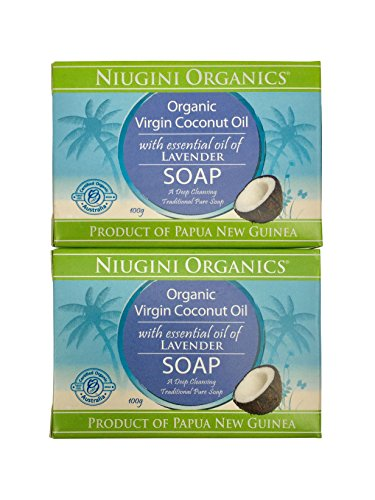 2 x The UK's only Pure Organic Virgin Coconut Oil Soap Bar For Sensitive Skin, 100g (Lavender)