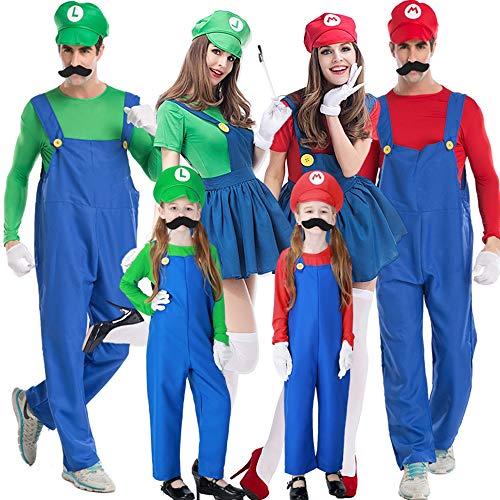 Kleinkind Kostüm Mario - Halloween Kostüm Damen Anime Accessoires Karneval Fasching Mario Und Luigis Klempner,Blau,FemaleM