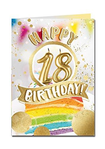 """bentino XXL Grußkarte A4\""""18er Geburtstag\"""", Pustekarte mit Sound, Kerze auspusten, spielt\""""Happy\"""", Serie GREAT CARDS, hochwertige Karte mit Umschlag"""
