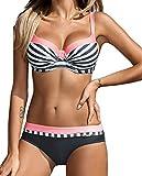 AHOOME Damen Bikini Push Up Gepolstert Streifen rayures Triangel Brasilianische Bademode Bikini-Sets(Rosa,L)
