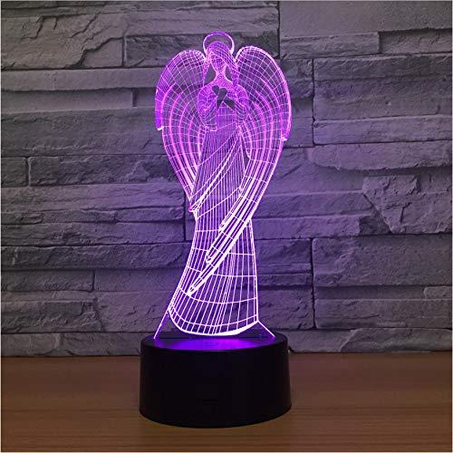 Haus Statue (Kreative Lampe 3D Bunte Engel Statue Hause Kreative Lampe Geschenk Tischlampe Kinder Geschenke Home Decor)
