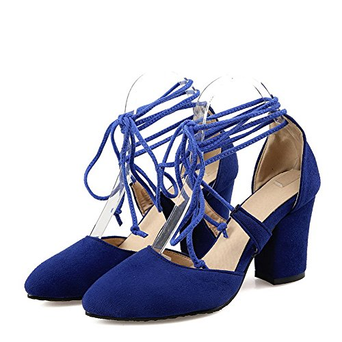 VogueZone009 Damen Rein Mattglasbirne Hoher Absatz Schnüren Spitz Zehe Pumps Schuhe Blau