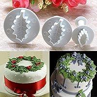 Aliciashouse 3 x Natale agrifoglio foglia torta Cookie Cutter Sugarcraft decorazione della muffa