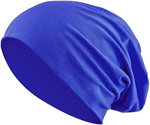 Jersey Baumwolle elastisches Long Slouch Beanie Unisex Mütze Heather in 35 (3) (Royal Blue) -