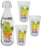alles-meine.de GmbH 4 TLG. Set _ Glasflasche mit Bügelverschluss & 3 Stück Trinkgläser -  Cuba & Havana  - incl. Name - 1 Liter Flasche & 310 ml Gläserset - aus Glas - Wasserf..