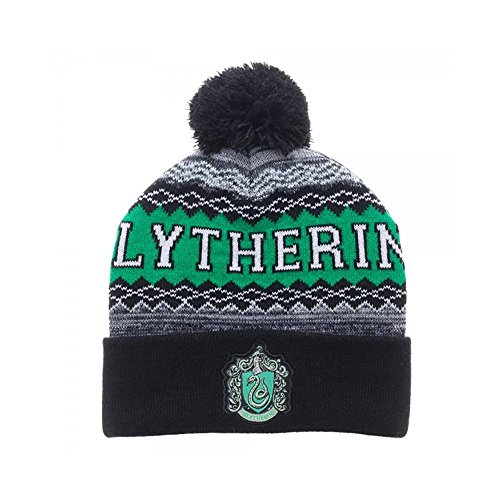 Harry Potter - Slytherin - Mütze mit Bommel - Originales Merchandise (Slytherin Hat)
