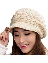64b52a5298f MoModer Women   s Winter Hats Wool Knit Snow Ski Skull with Visor Winter  Warm Hat