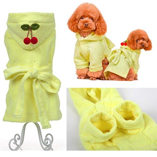 hundeinfo24.de Hoopet® Gelb Größe: XS Bademantel für Hunde Hundebekleidung Welpenbademantel