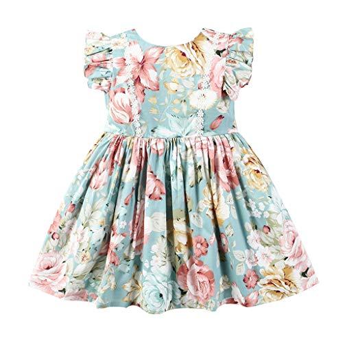 Julhold Kleinkind Baby Kinder Mädchen Mode Elegant Geraffte Spitze Blumendruck Prinzessin Casual Kleider Kleidung 0-6 Jahre