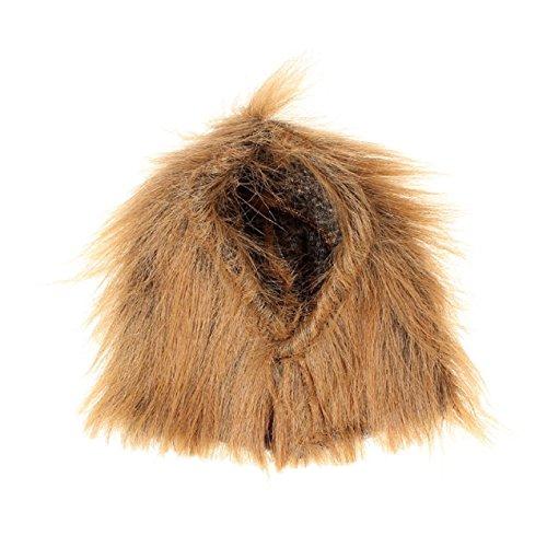 ETbotu Generic Pet Kostüm Löwe Mähne Perücke mit Ohren für Hund Katze Halloween Kleidung Fancy Dress up (Hellbraun, M)