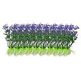"""sourcing map 10 PCS 2.9"""" Alta Acquario Viola plastica Verde Acquatico Simulazione Decorazioni vegetali"""