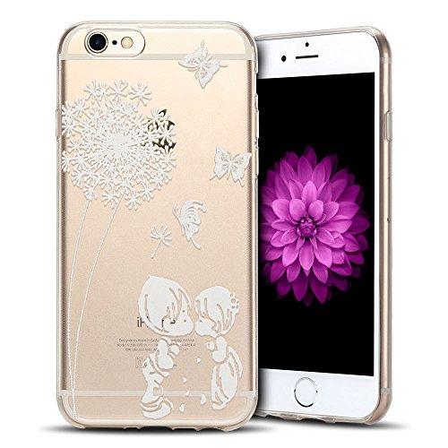 Cover iPhone 6s Custodia iPhone 6 Silicone Anfire Morbido Flessibile TPU Gel Case Cover per Apple iPhone 6/6s (4.7 Pollici) Ultra Sottile Clear Trasparente Copertura Antiurto Protettivo Bumper Skin Sh Dente di Leone Amanti