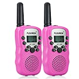 FLOUREON Walkie Talkies PMR Radio Ricetrasmittente 8 Canali Bambini Ricetrasmettitore LCD-Display , Rosa