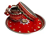Unique Arts & Interiors Karwa Chauth Red Puja Thali Set