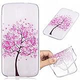 Qiaogle Telefono Case - Soft Custodia in TPU Silicone Case Cover per HTC Desire 526G 526G+ Dual SIM (4.7 Pollici) - HC24 / Pink Farfalla Albero