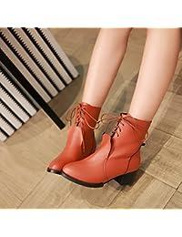 &ZHOU Botas otoño y del invierno botas cortas mujeres adultas 'Martin botas botas Knight a4 , brown , 37