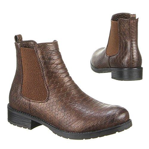 Damen Schuhe Stiefeletten chelsea Boots Gefütterte Stretch Stiefel Schwarz Braun Beige Grau 36 37 38 39 40 41 Bronze