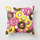 jinhua19 Kissenbezüge Pillow Cover Delicious Donut Pattern Floral Cushion Cover Floral Printed Case 18 X 18 Pillowcase Multicolor