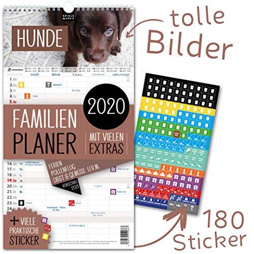 Familienplaner 2020 - HUNDE | 5 Spalten | Wandkalender: 23x43cm | Familienkalender Extras: 180 praktische Sticker, Ferien 2020/21, Pollen-, Obst- & Gemüse-, Jahreskalender, Vorschau bis März 2021