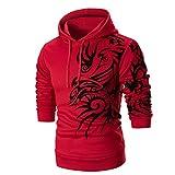Xmiral Herren Sweatshirt Top Langarm Kapuzenpullover Linie Tier Printed Hoodie Einfarbig Stickerei Hübsch(XL,Rot)