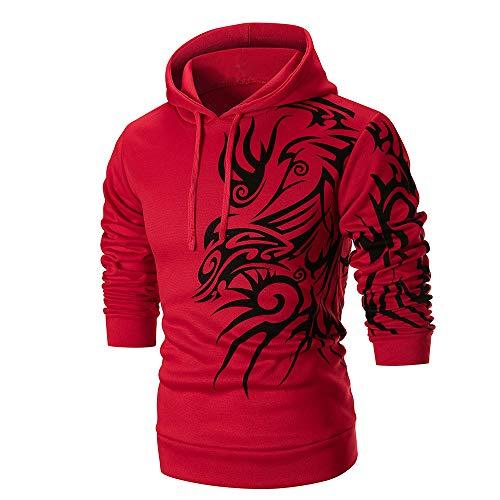 Herren Langarm Hoodie Mit Kapuze Sweatshirt Top Tee Outwear Bluse Honestyi Cyhc W Cf Männer Langarm T Shirt Und Print(rot,L)