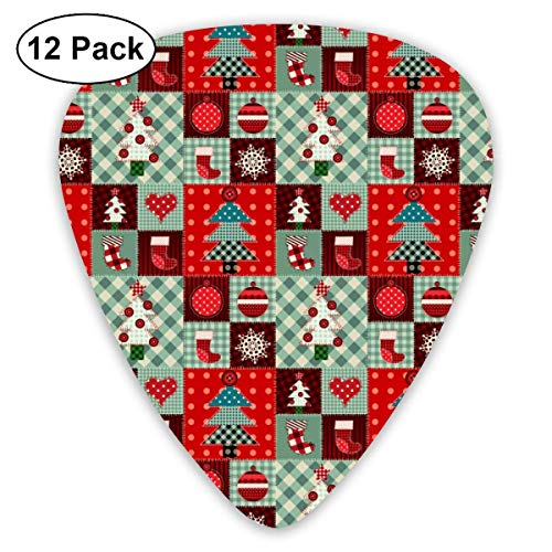 Red Plaid Chirstmas Xmas Gift 351 Shape Classic Celluloid Guitar Pick For Electric Acoustic Mandolin Bass (12 Count)