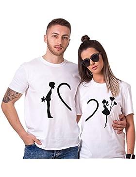 Camiseta King Queen Pareja Shirt Impresión Corazón Combinado 100% Algodón para Mujer Hombre Couple T-Shirt Manga...
