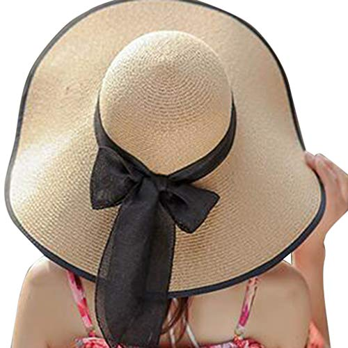Poachers Hut,GroßE Braune Strohhut Sonne Der Modefrauen Sonne Floppy Breiter Krempe Neue Bowknot Faltende Strandkappe