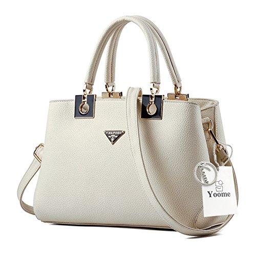 Yoome borse grandi borse per le donne Top Tote Handle Borse eleganti Borse donna con cinghie - Viola Crema