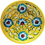 Shiv KRIPA Blue Art Pottery Ceramic Decorative Wall Hanging Handmade Plate 17 x 17 x 3 cm (Yellow & Mu