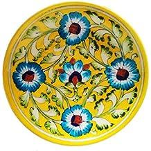 SHIV KRIPA Blue Art Pottery Ceramic Decorative Wall Hanging Handmade Plate 17 x 17 x 3 cm (Yellow & Multi)