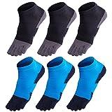GINZIN Zehensocken 6 Paar Socken herren Männer Sport laufende Zehe Socken Sportsocken
